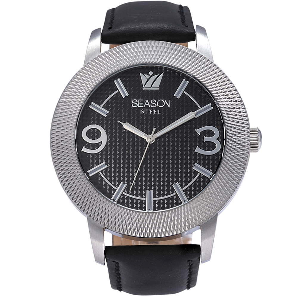 Ανδρικό Ρολόι Season Steel 233-4 Μαύρο