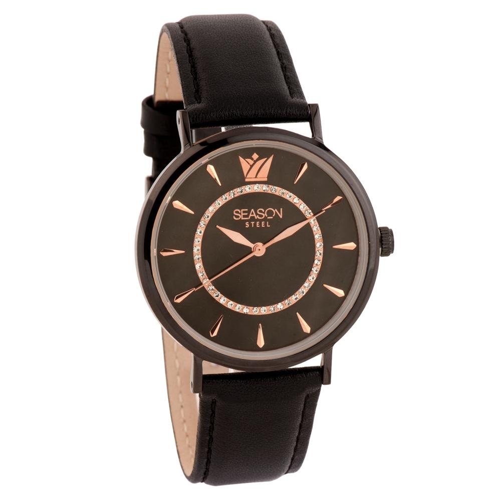 Ατσάλινο ρολόι Season Time 6317B-3 Μαύρο Pearl Series