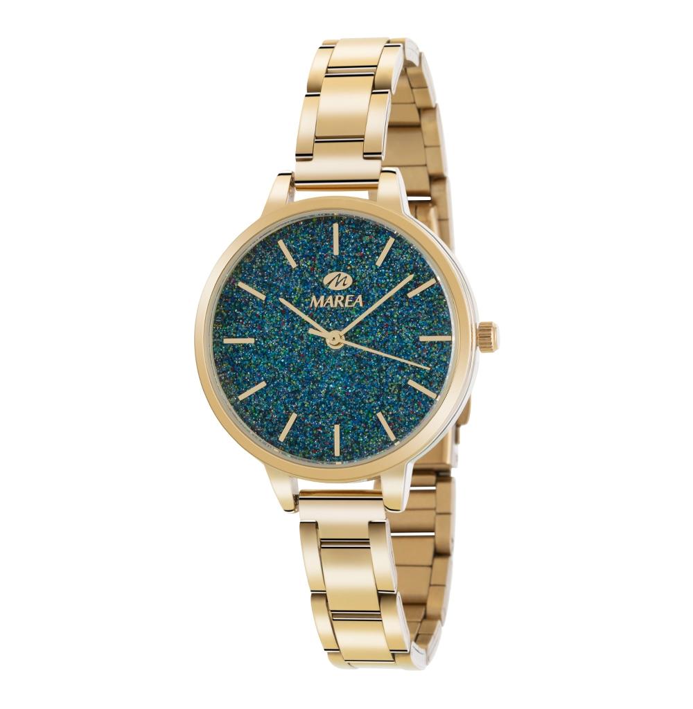 Ρολόι Γυναικείο Marea B41239-13 Χρυσό-Πετρόλ