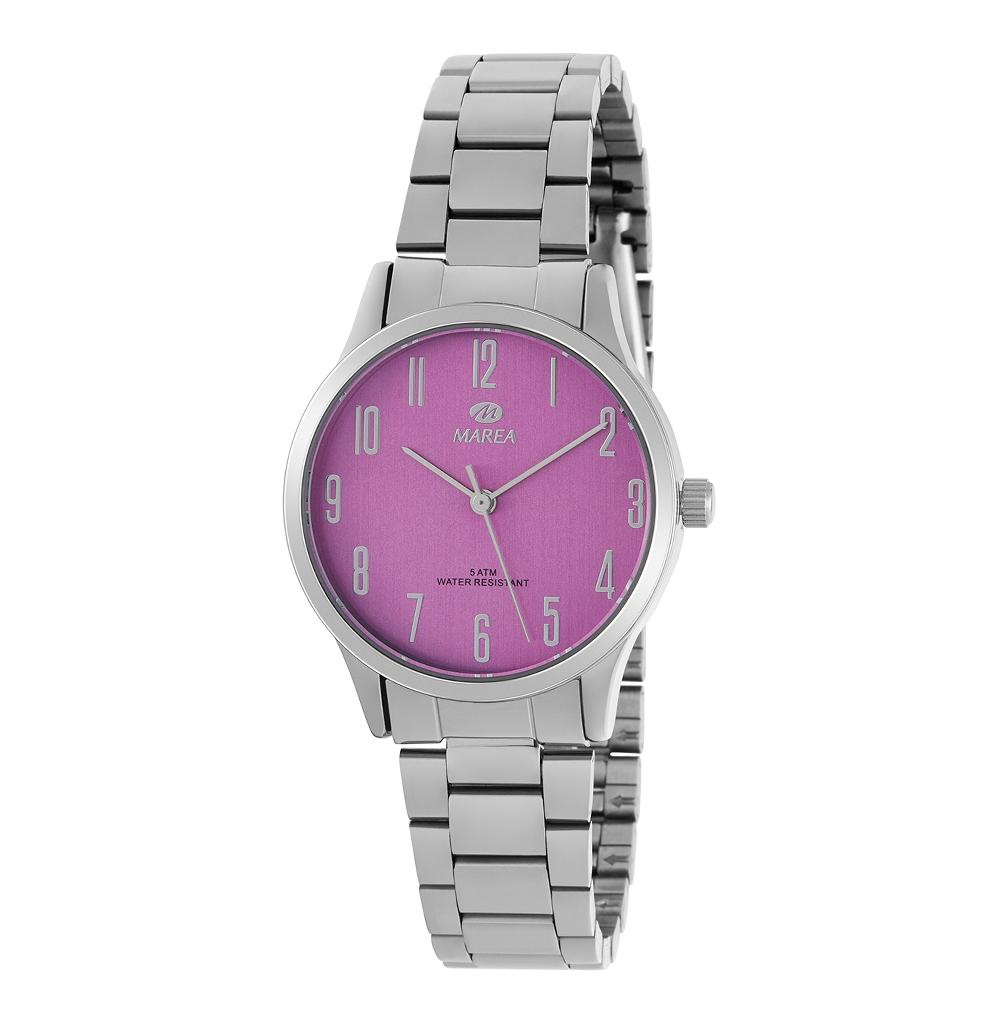 Ρολόι Γυναικείο Marea B41242-7 Ασημί-Μώβ