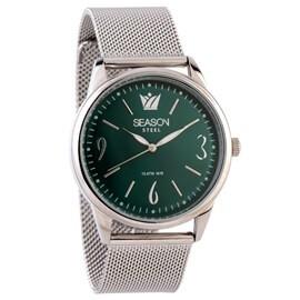 Ατσάλινο ρολόι Season Time 6-4-4-7 Ασημί-Πράσινο Minimal Steel Series