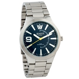 Ατσάλινο ρολόι Season Time 5-2-19-1 Ασημί-Μπλε Prestige Steel Series