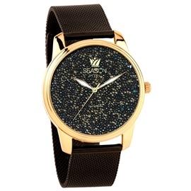Ατσάλινο ρολόι Season Time 6-4-14-8 Μαύρο-Χρυσό Dazzling Steel Series